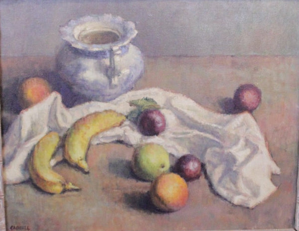 "Tabletop Still Life with Fruit by Foster Caddell, signed lower left, circa 1950's. 16"" x 20"" size of painting, 24"" x 29"" including white wash molded frame"