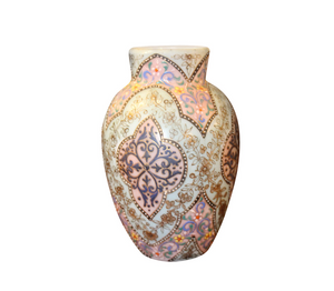 Chinese art nouveau aqua enamel vase with exquisite hand painted details