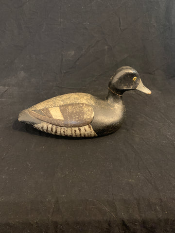 Early 20th Century Carved and Painted American Duck Decoy with Relief Carved Wings