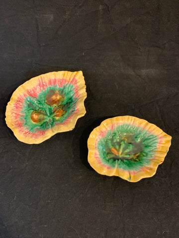 Companion Pair of Etruscan Majolica Pottery Begonia Leaf Form Dishes, circa 1880 England