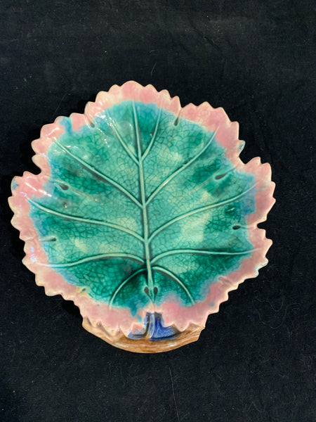 Matched Pair of Etruscan Majolica Pottery Leaf Form Dishes, circa 1880