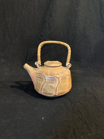 Studio pottery teapot with angular sides, marked Tanzer