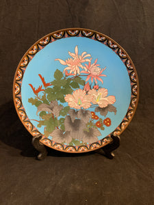 "authentic Asian style 9.5"" enamel cloisonne plate, circa 1900  with a floral decoration on a blue background"