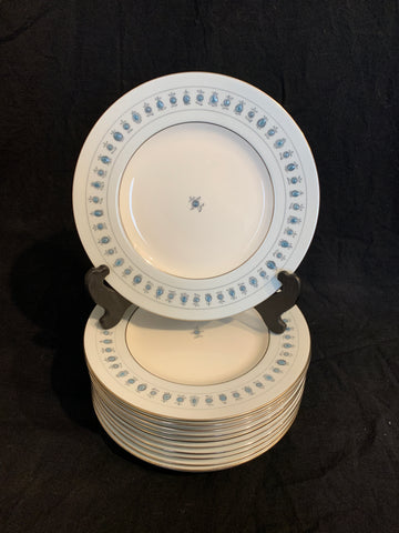 set of 11 1960's Minton English Porcelain lunch plates, with silver rim and pale blue band
