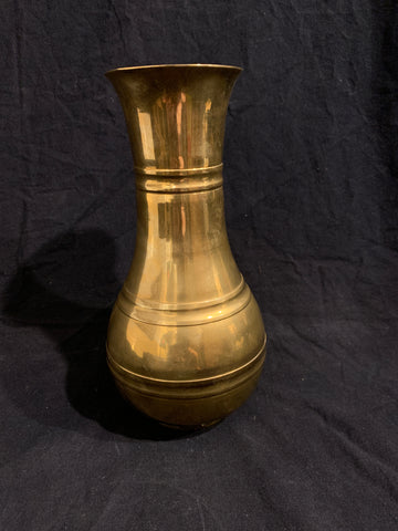 20th century brass vase with a raised banded design