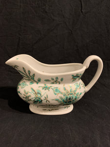mid 20th century reproduction Asian green foliate design gravy boat with butterflies