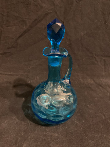 authentic late 19th century Victorian blue glass bottle