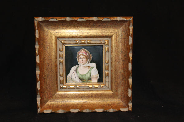 "Victorian 19th century ""Noble Lady"" English tile in a 10"" square reproduction frame, and in good condition.  The 4"" square tile is made by Trent and signed by A.J.Devine."