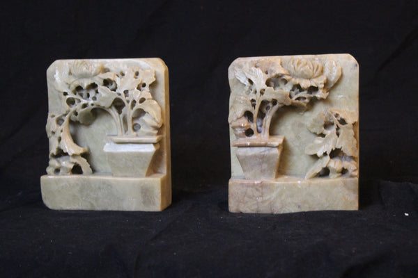 pair of authentic Chinese carved soapstone bookends, circa 1900