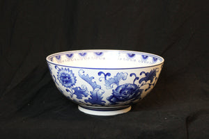Chinese Punch Bowl with Cobalt Floral Design