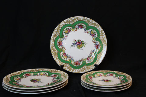 "18th century Sevres pattern French reproduction plates, made in Japan, marked ""Andrea by Sadek - 1996"""