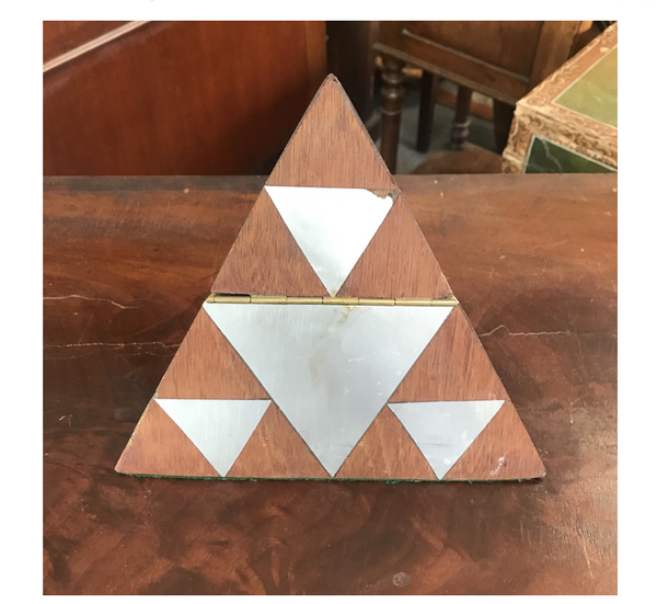 Unique mid 20th century modernist inlay pyramid box in brown wood with silver inlay. On brass hinge with green velvet bottom