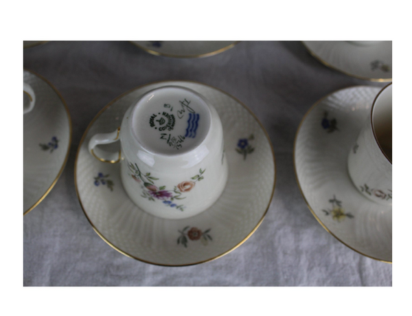 Royal Copenhagen Cups + Saucers (Set of 12)