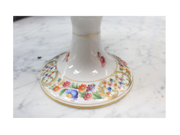 Mid-20th Century Marked Dresden porcelain, colorful floral designed tazza raised plate on white background with gold edge and accents.