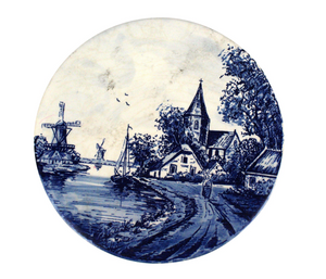 Early 20th century Cobalt blue and antique white Delft trivet of a Dutch harbor and church scene.