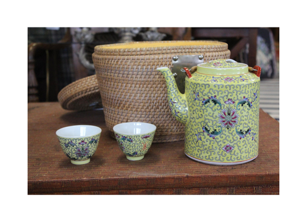 20th Century Chinese Basket Tea Set (4 Piece Set)