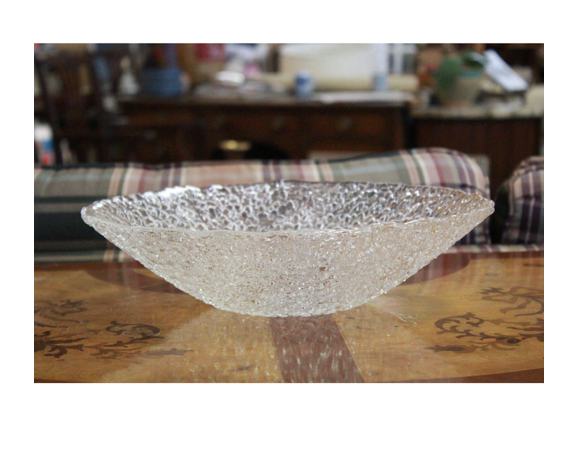 Beautiful late 20th century bumpy surface art nouveau glass bowl with smooth glass interior for serving.