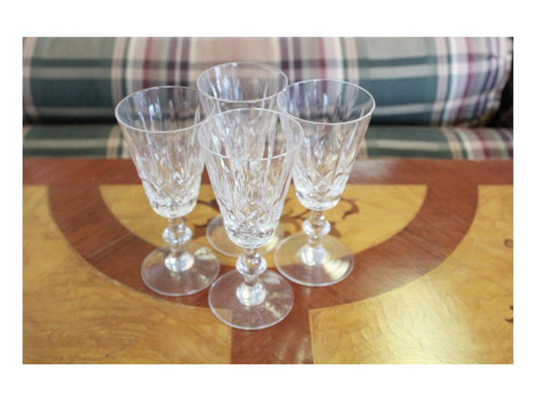four mid 20th century traditional cut glass transparent cordials
