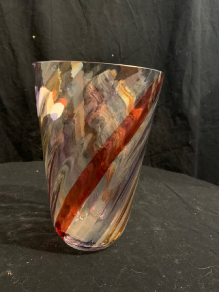 "Multicolored Handmade Swirl Glass Vase.  This is an authentic late 20th Century Czechoslovakian modern glass vase.  It is in good condition and has original decal from maker.  It is 8"" tall x 5.5"" wide."