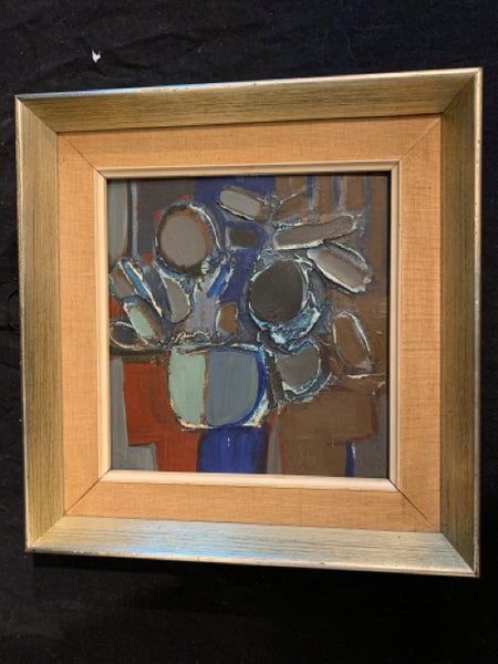 "Ron King - Modernist Floral Oil. This is an authentic Modernist oil on panel, and is inscribed by the artist.  It is in good condition, the art is 7"" x 6.5"" and the frame is 10"" x 10""."