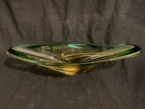 "MCM Art Glass Bowl.  This is an authentic Mid Century Modern U.S. Glass bowl, circa 1960s.  It is good condition and is 17"" length x 5"" tall."