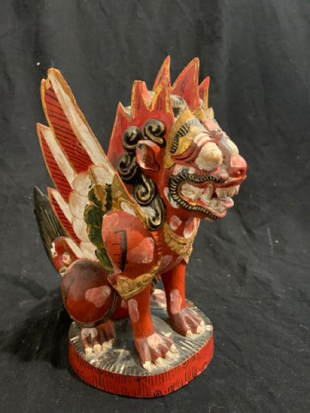 "Carved & Painted Winged Dragon.   This is an authentic Asian wood carving, circa 1950s.  It is marked ""Netherlands East Indies"", there is wear to paint finish and some minor chips, and is 9"" tall."