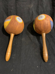 "Pair of Moroccas - Cuban Souvenir.   These are authentic Cuban Moroccas, circa 1950s.  They are coconut shell & wood, in good condition with minor paint wear, and are 10"" length."