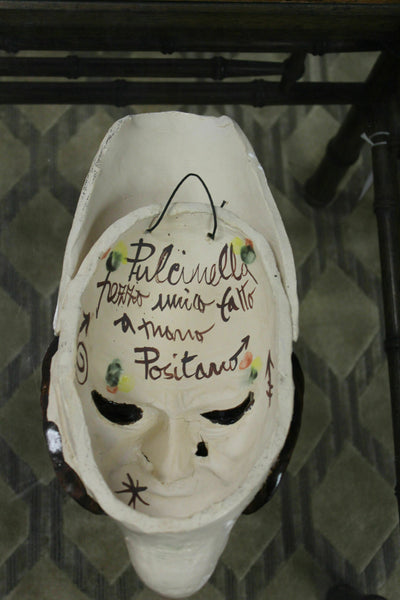 "Pulcinella Theater Mask. This is a stoneware pottery Italian Pulcinella Theater Mask. It's an authentic late 20th Century piece in good condition, and measures 16"" high by 6"" deep."