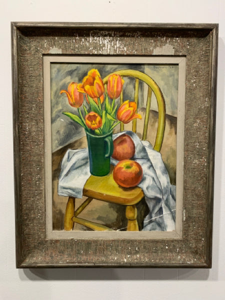 "Frederick Buchholz - Still Life ""Tulips & Apples"". This is an authentic Realism oil on canvas, dated 1928.  It is offered direct from the estate of the artist and signed on upper right.  There is an angular scrape at lower right, other small losses, and the frame is distressed.  The art measures 16"" x 12"" and the frame is 23"" x 19""."