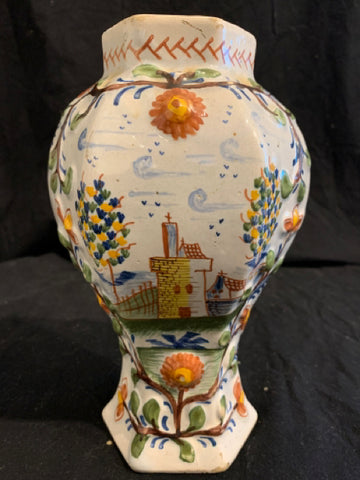 "This is an authentic late 18th century Delft pottery vase, made in Holland. It is in good condition, with minor glaze cracks, and is 8.5"" tall x 5"" wide."