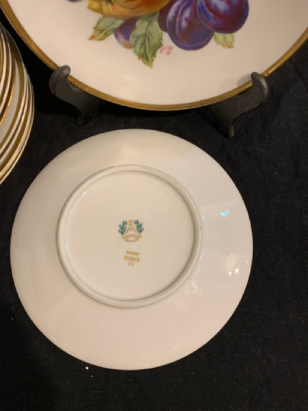 "Set of Ten Fruit Pattern Plates - Five Pair.  These are authentic traditional Bavarian Porcelain plates, made in Germany.  They are in good condition and are 7.5"" diameter."
