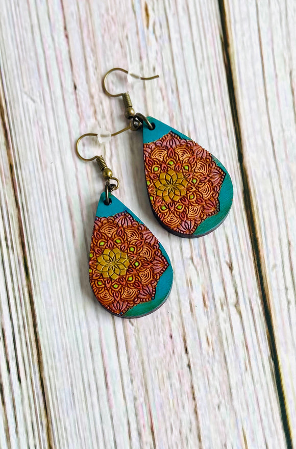 Hand Painted Wood Mandala Earrings (More Colors Available) - Black Cat Modern Boho Handmade Jewelry