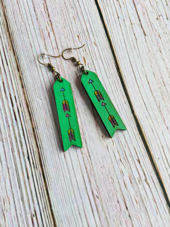 Hand Painted Wood Arrow Earrings (more colors available) - Black Cat Modern Boho Handmade Jewelry