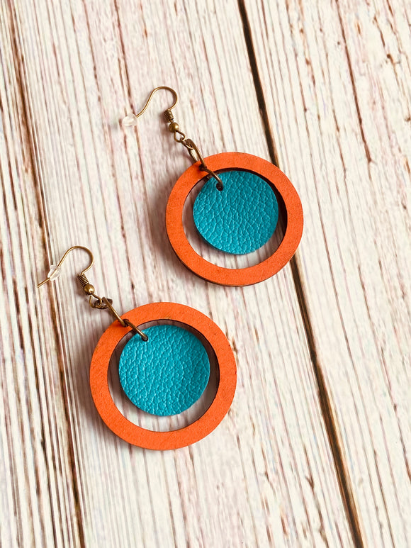 Hand Painted Wood & Leather Orb Earrings (More Colors Available) - Black Cat Crafts