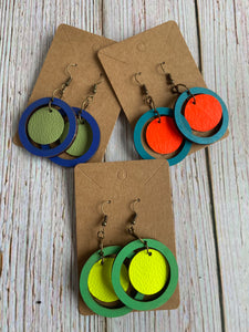 Hand Painted Wood & Leather Orb Earrings - Everything Beautiful Boutique Handmade Jewelry
