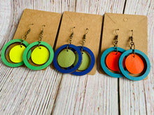 Hand Painted Wood & Leather Orb Earrings (More Colors Available) - Black Cat Modern Boho Handmade Jewelry