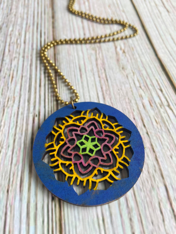 Hand Painted Wood Mandala Necklace (More Colors Available) - Black Cat Modern Boho Handmade Jewelry