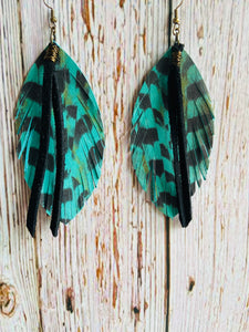 Teal Leather Pheasant Feathers with Black Fringe - Black Cat Modern Boho Handmade Jewelry