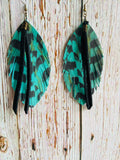 Teal Leather Pheasant Feathers with Black Fringe - Black Cat Crafts