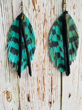 Teal Leather Pheasant Feathers with Black Fringe - Everything Beautiful Boutique Handmade Jewelry