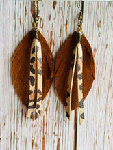 Brown Suede Feathers with Cheetah Fringe - Black Cat Modern Boho Handmade Jewelry