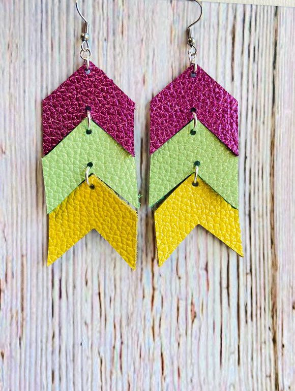Limited Edition Pearlized Metallic Ela Chevron Genuine Leather Earrings - Black Cat Modern Boho Handmade Jewelry