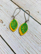 Brass Leaf & Leather Earrings (Additional Colors) - Black Cat Modern Boho Handmade Jewelry