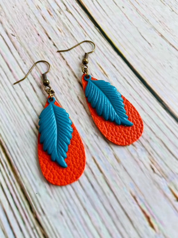 Brass Leaf & Leather Earrings - Black Cat Modern Boho Handmade Jewelry