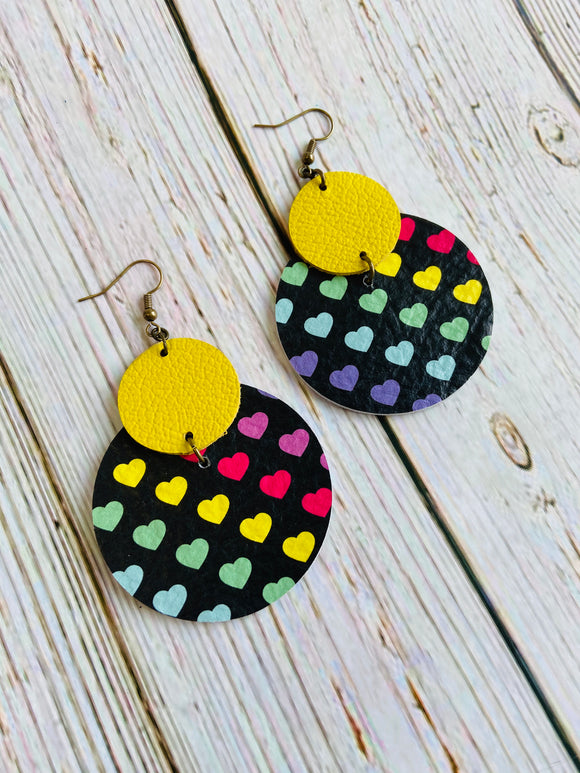 Rainbow Heart Lily Leather Earrings - Black Cat Modern Boho Handmade Jewelry