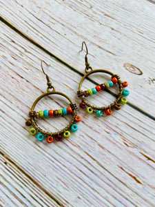 Beaded Earrings in Southwest with Matching Necklace - Black Cat Crafts Handmade Jewelry