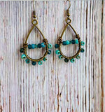 Beaded Earrings in Marine with Matching Necklace - Black Cat Modern Boho Handmade Jewelry