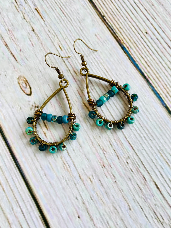 Beaded Earrings in Marine with Matching Necklace - Black Cat Crafts Handmade Jewelry