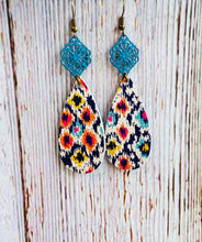 Ikat Filigree Leather Earrings - Black Cat Modern Boho Handmade Jewelry