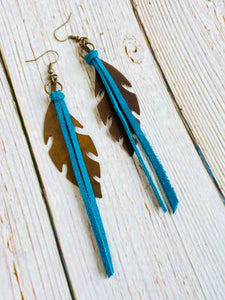 Feather & Fringe Earrings - Black Cat Modern Boho Handmade Jewelry
